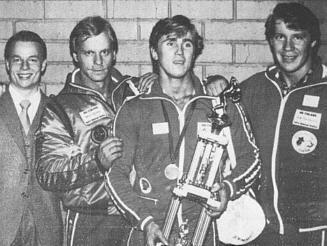 Juhani Hokkasen EM-pronssia 1980 oli todistamassa, Jouni Virtamo, Keijo Reiman ja Jyrki Savolainen.
